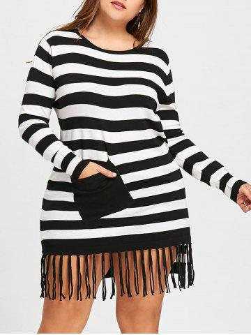 Cheap Long Striped Plus Size Pocket Fringe Sweater