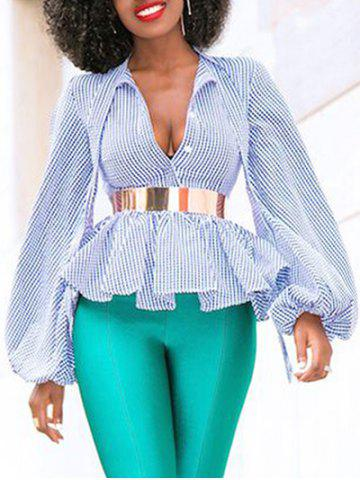 Plunging Neckline Balloon Sleeve Plaid Peplum Blouse(Without Belt)