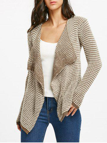 Discount Collarless Long Sleeve Knitted Drape Front Cardigan