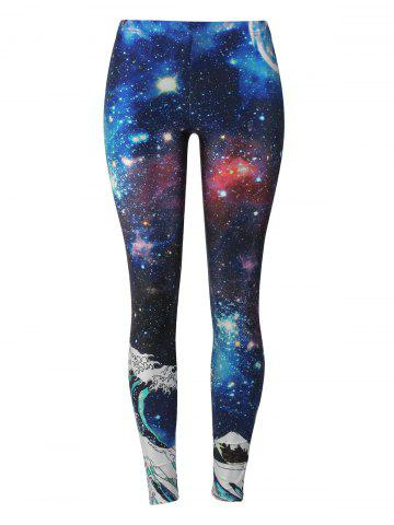 Online 3D Wave Print Starry Sky Leggings