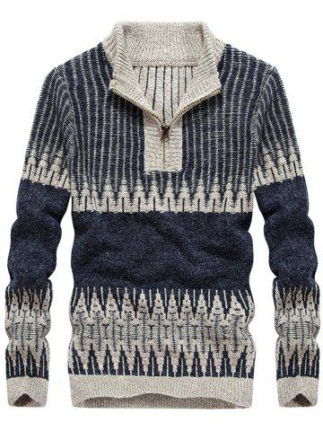 Jacquard Stand Collar Color Block Half Zip Sweater