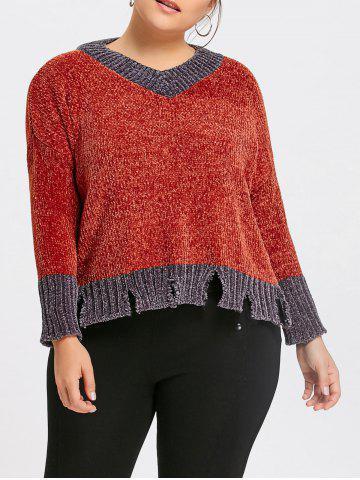 Online Plus Size Contrast Ripped Ribbed Sweater