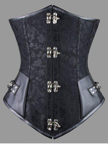 Chic Faux Leather Panel Plus Size Lace-up Corset