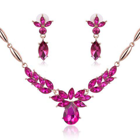 Outfit Vintage Flower Shaped Decorated Faux Gem Necklace Earrings