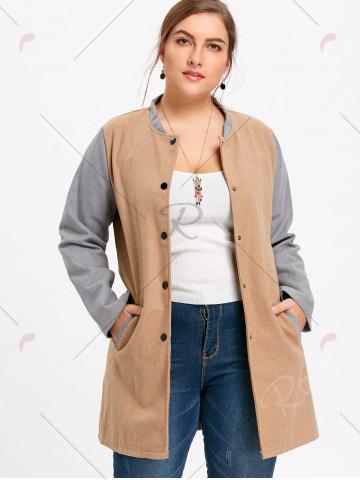 Shop Plus Size Color Block Button Up Coat