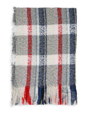 Buy Outdoor Multicolor Striped Pattern Embellished Fringed Long Scarf