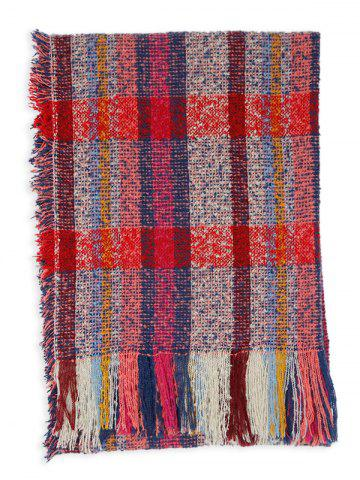 Chic Outdoor Multicolor Striped Pattern Embellished Fringed Long Scarf