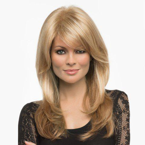 Chic Long Side Bang Layered Fluffy Straight Human Hair Wig