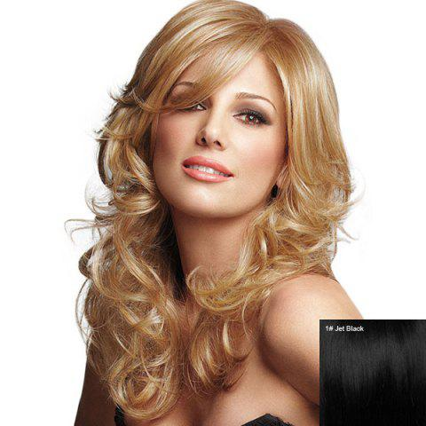 Fashion Long Inclined Bang Fluffy Curly Human Hair Wig