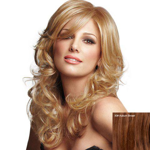 Cheap Long Inclined Bang Fluffy Curly Human Hair Wig