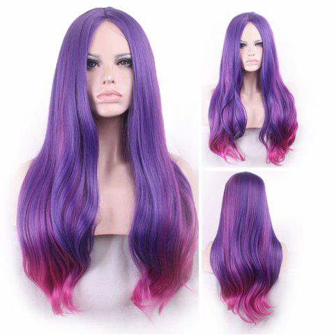 Cheap Long Center Parting Straight Party Colormix Synthetic Wig
