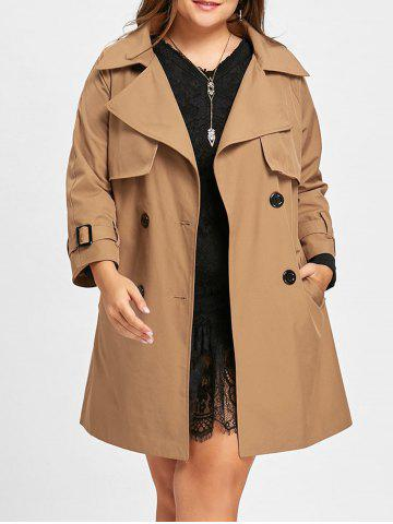 Chic Long Plus Size Double Breasted Coat