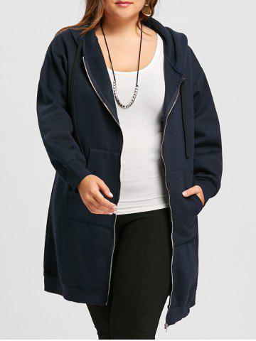 Unique Plus Size Zip Up Long Hoodie