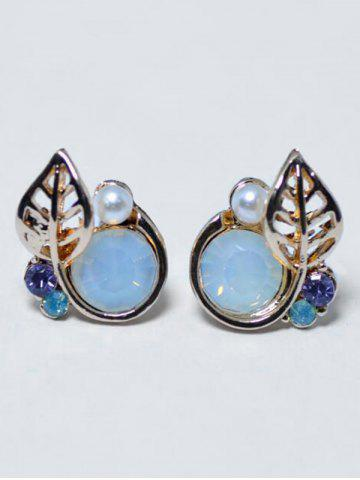 Hot Faux Pearl Rhinestone Tiny Leaf Stud Earrings
