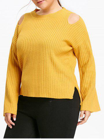 Yellow 2xl Ribbed Plus Size Cold Shoulder Sweater | RoseGal.com