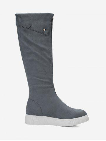 Cheap Fold Over Zip Front Mid Calf Boots