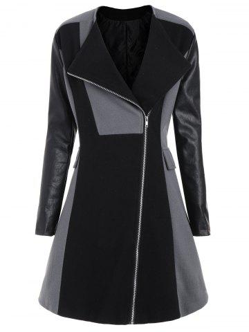 Unique Two Tone Plus Size Faux Leather Sleeve Coat