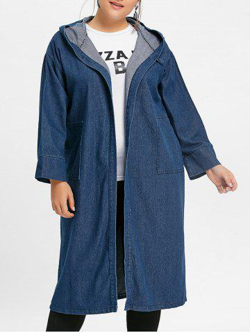 Affordable Plus Size Longline Denim Coat with Hooded
