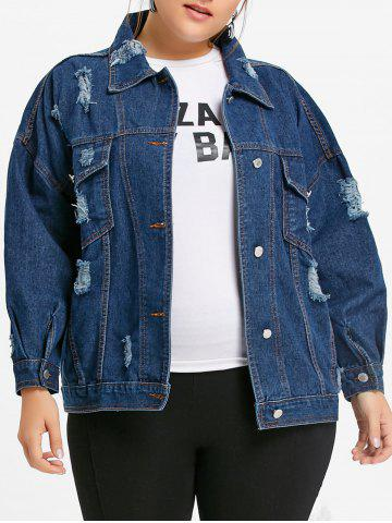 Discount Plus Size Distressed Wash Denim Jacket