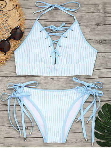 Fancy Striped Tie Side Lace-up Bikini Set