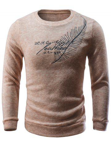 Chic Crew Neck Feather Embroidery Sweater
