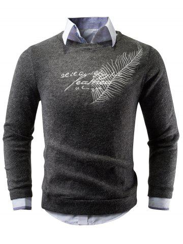 Outfit Crew Neck Feather Embroidery Sweater