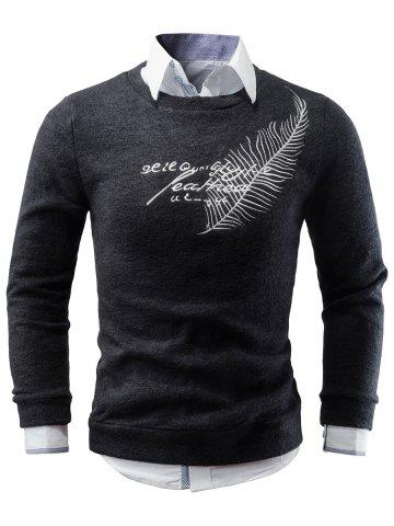 Crew Neck Feather Embroidery Sweater