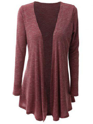 Tunic Collarless Long Sleeve Cardigan