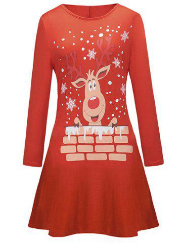 Discount Elk Print Christmas Long Sleeve Tee Dress