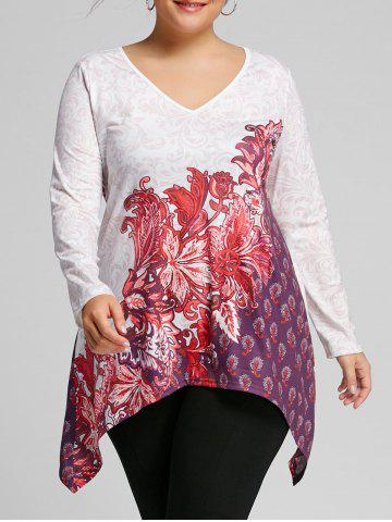Outfit Plus Size Bandana Floral V Neck Tee