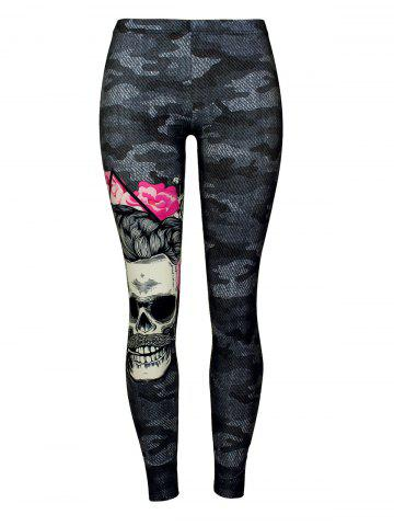Affordable Camo Skull Print Leggings