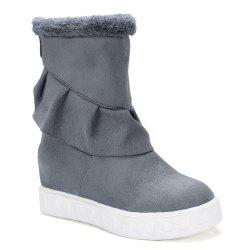 Ruched Suede Slip On Boots -