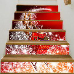 Starlight Christmas Sleigh Printed Stair Stickers - Red And White - 100*18cm*6pcs