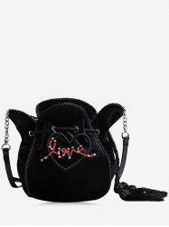 Heart Pattern Embroidery Tassel Crossbody Bag -