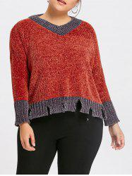 Plus Size Contrast Ripped Ribbed Sweater -