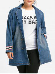 Plus Size Long Lapel Collar Denim Coat -
