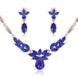 Vintage Flower Shaped Decorated Faux Gem Necklace Earrings -