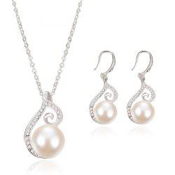 Rhinestone Embellished Faux Peral Pendant Necklace Earrings Set -