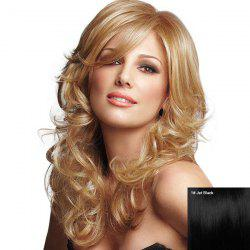 Long Inclined Bang Fluffy Curly Human Hair Wig -