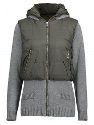 Knit Panel Faux Twinset Quilted Hooded Coat -