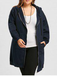 Plus Size Zip Up Long Hoodie -