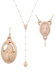 Alloy Oval Engraved Goddess Pendant Necklace - Golden