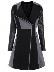 Two Tone Plus Size Faux Leather Sleeve Coat - Black And Grey - 5xl