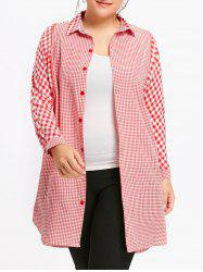 Long Plus Size Plaid Tunic Shirt -