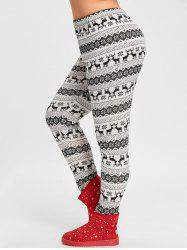 Christmas Snowflake Elk Jacquard Plus Size Leggings -