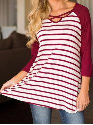 Front Lace Up Striped T-shirt -
