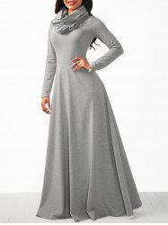 Long Sleeve Cowl Neck Maxi Dress -