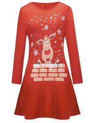 Elk Print Christmas Long Sleeve Tee Dress -