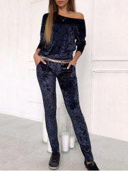 Skew Neck Velvet Sweat Suit -