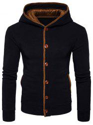 Button Up Suede Panel Elbow Patch Hoodie -